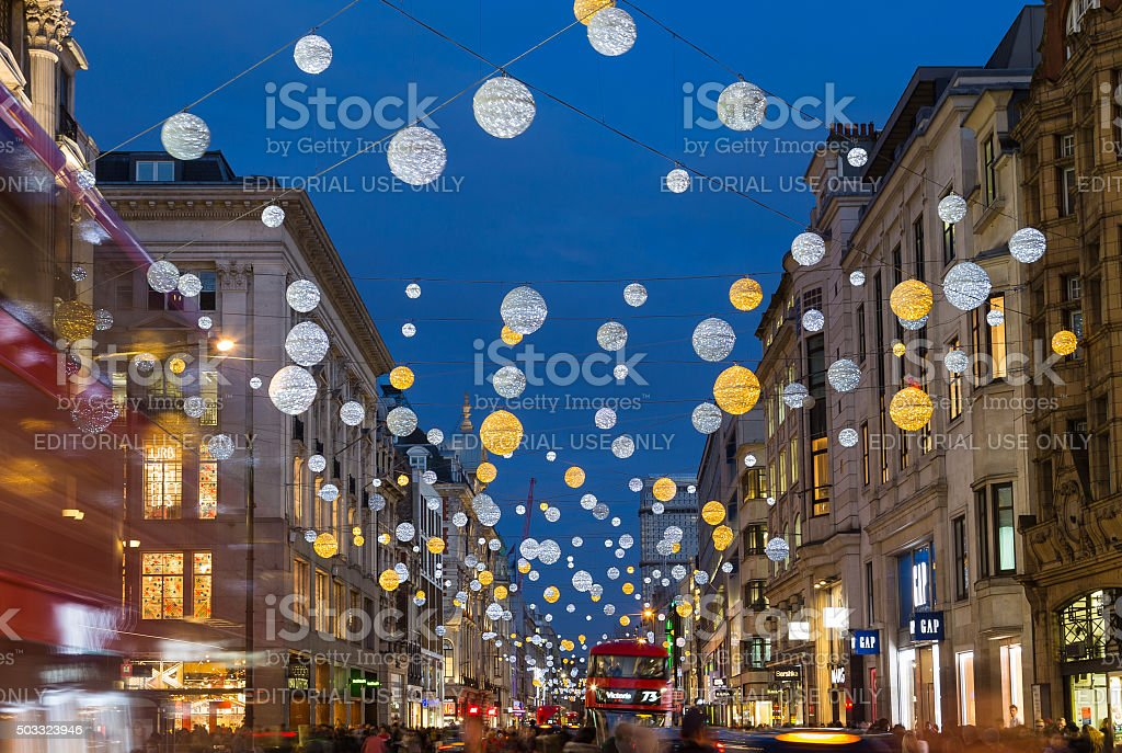 Oxford Street at Christmas stock photo
