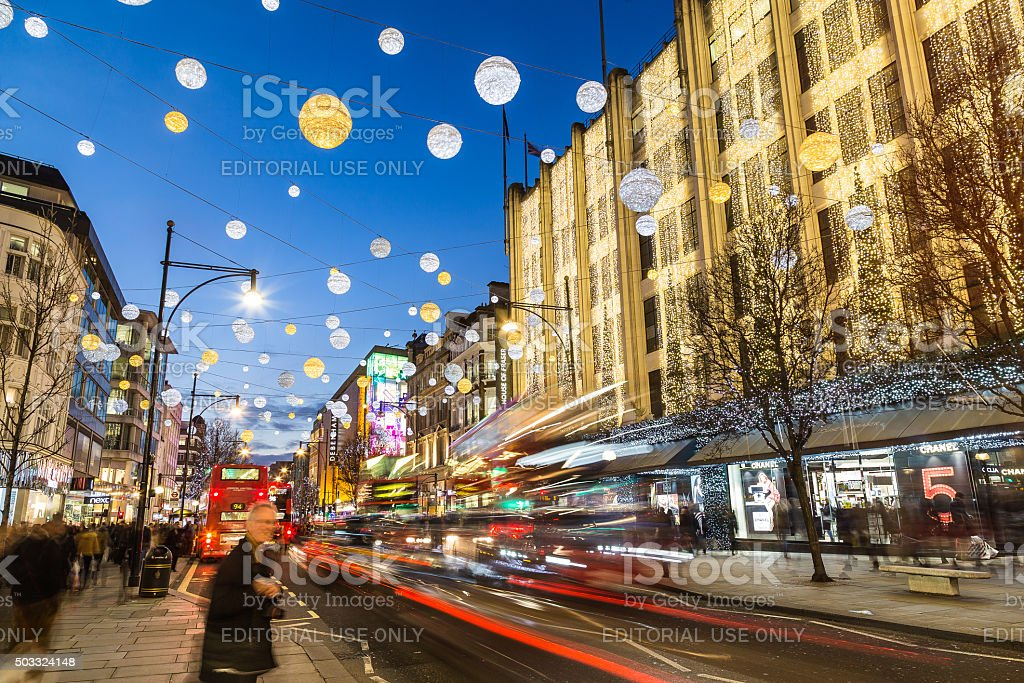 Oxford Street at Christmas stock photo