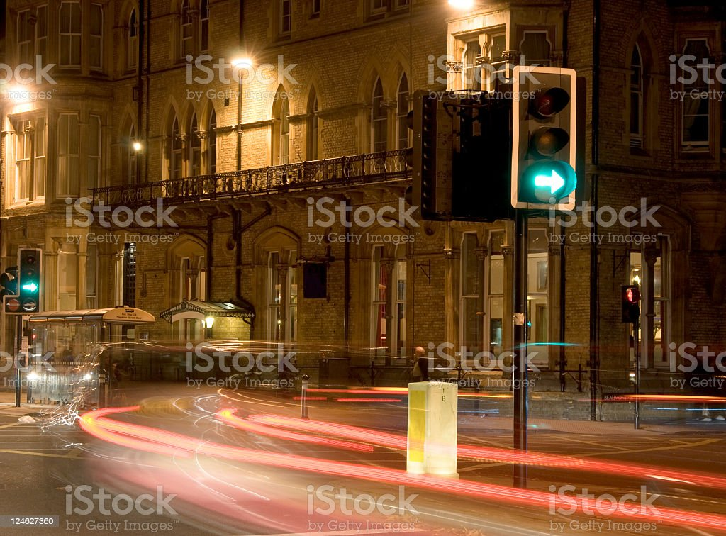 Oxford street at night with traffic royalty-free stock photo