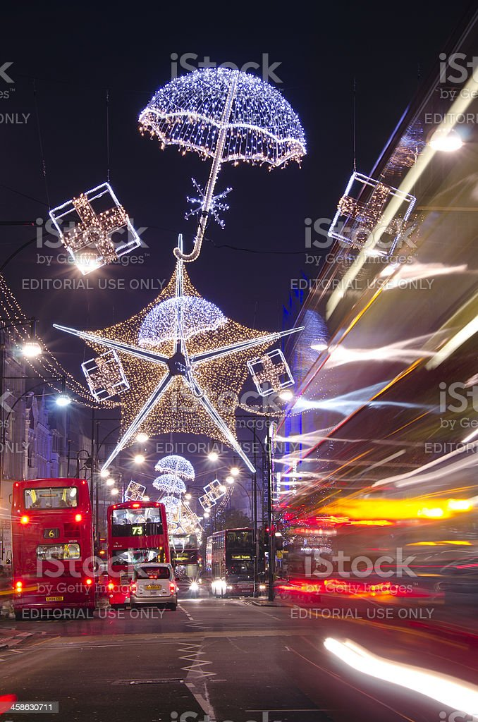 Oxford Street Christmas lights, West End, London royalty-free stock photo