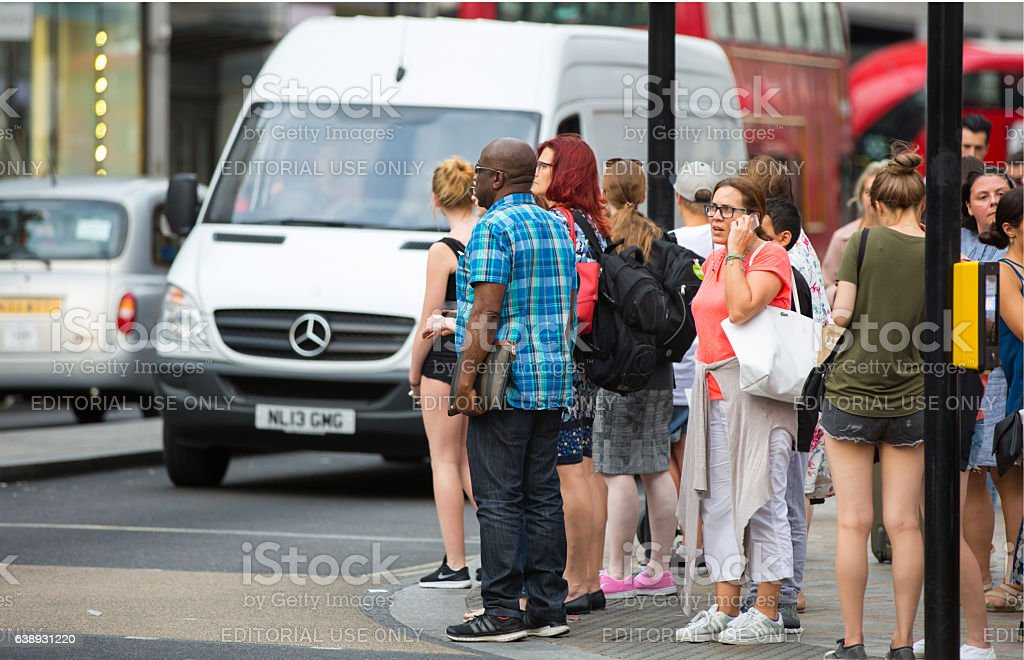 Oxford street with lots of people, London stock photo