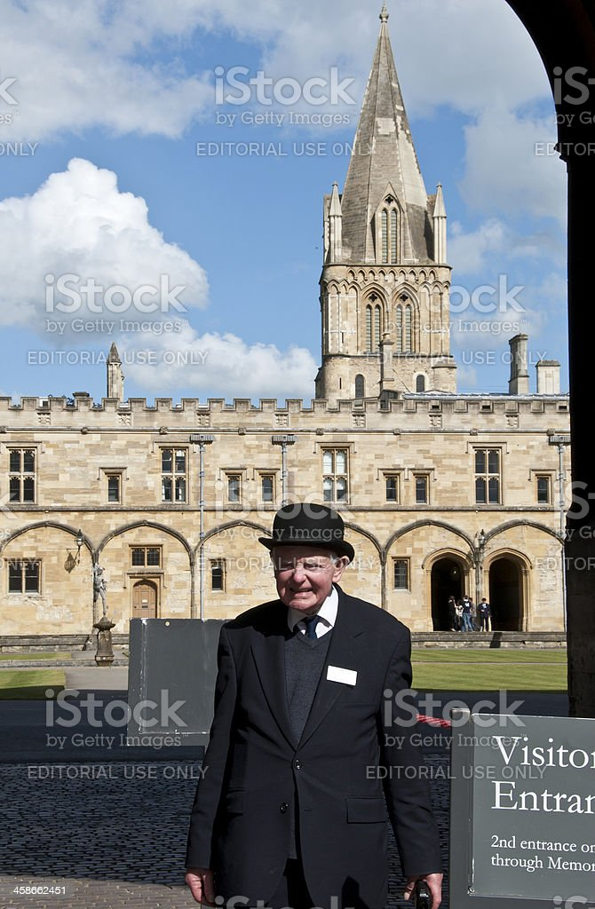Oxford University constable outside Christ Church college royalty-free stock photo