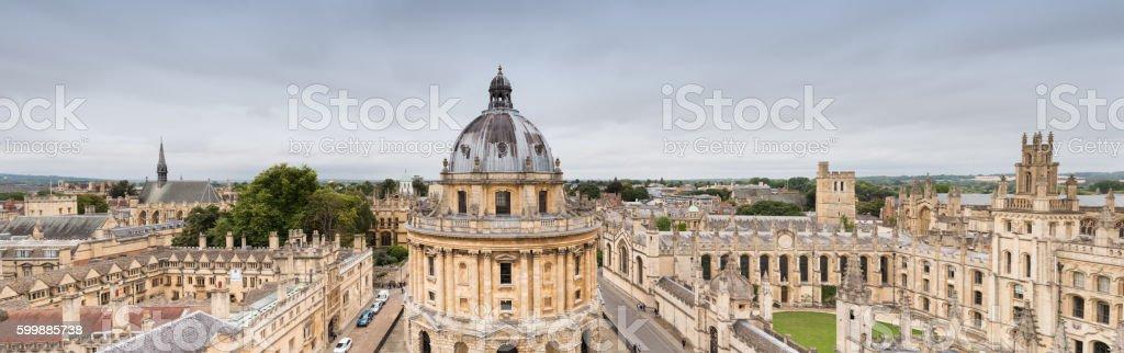 Oxford University panorama UK stock photo