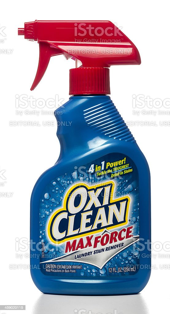 OxiClean Max Force Laundry Stain Remover spray stock photo