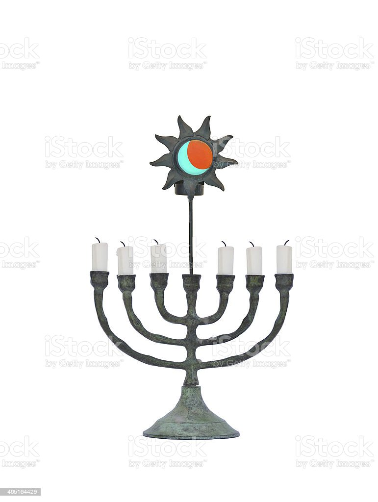 Oxidized Candle Holder with Orange Sun Blue Moon stock photo