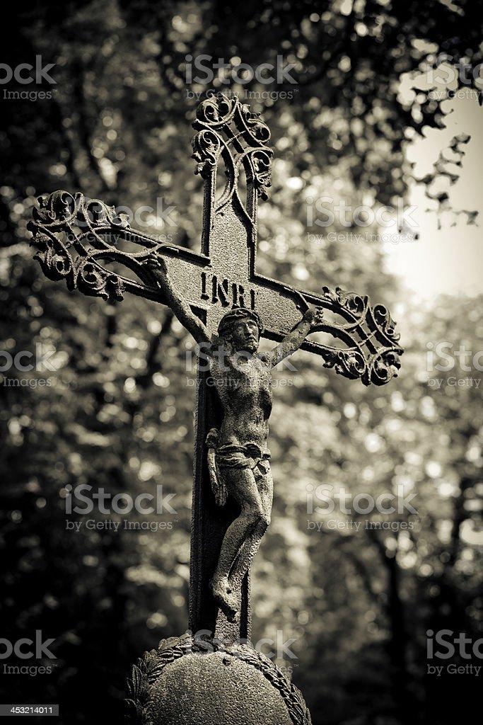 oxidized iron and greenish crucifix royalty-free stock photo