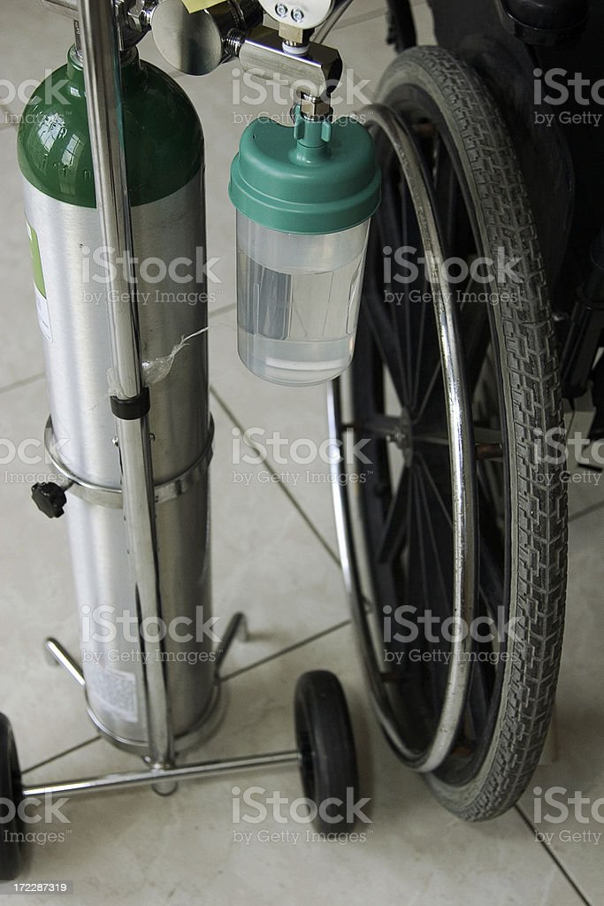oxigen and wheelchair stock photo