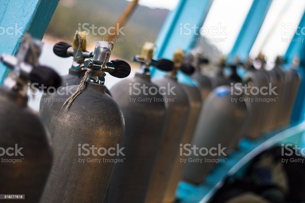 Oxigen tanks for scuba diving. stock photo