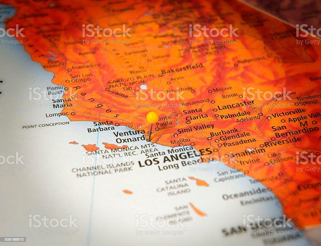 Oxnard California Travel Road Map Macro stock photo