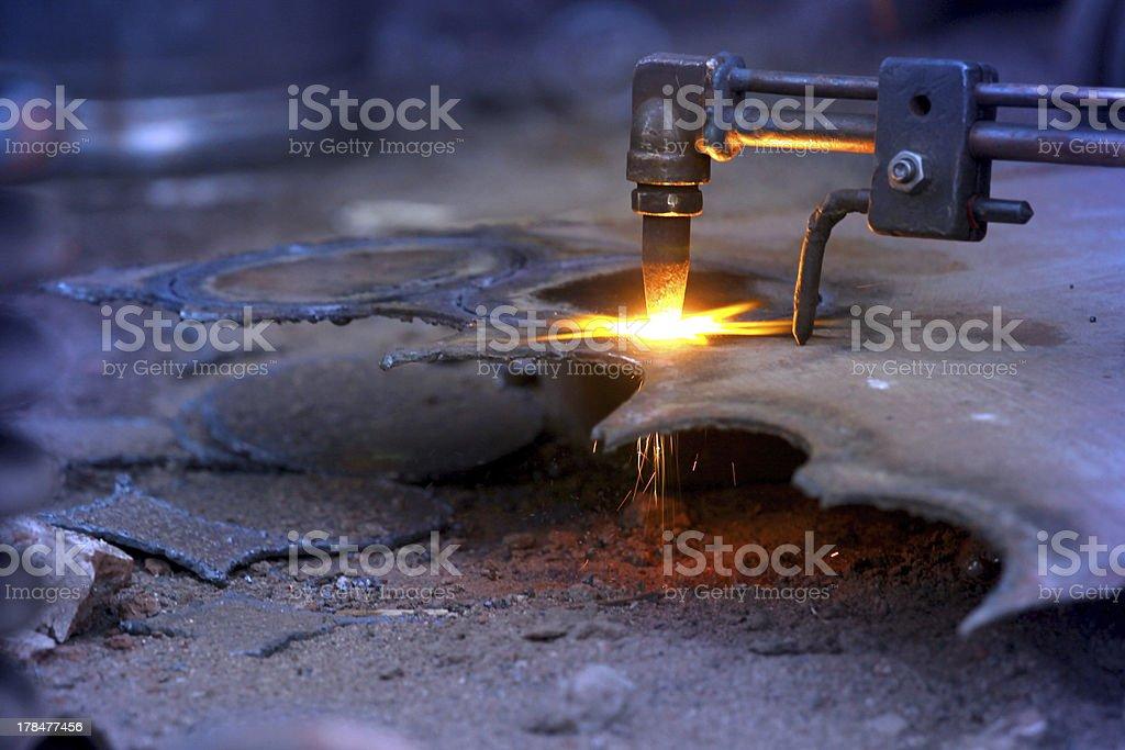 Oxy acetylene cutting stock photo
