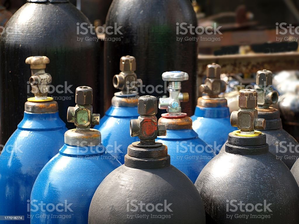 Oxygen and Gas Cylinders stock photo