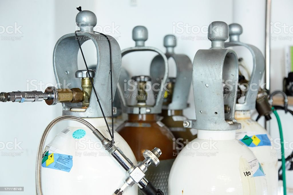 Oxygen and Helium for technical scuba diving stock photo