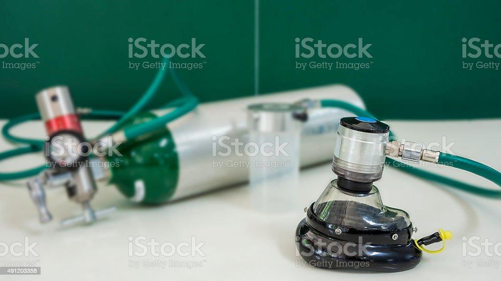 Sauerstoffzylinder verwischen Hintergrund Lizenzfreies stock-foto