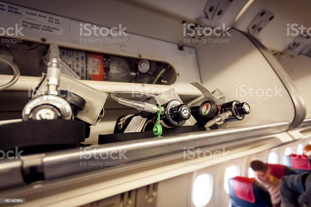 oxygen cylinders at aircraft stock photo