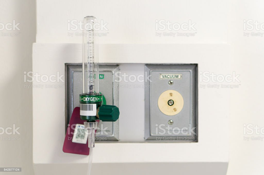 Oxygen flow meter suply, named Thorpe tube stock photo