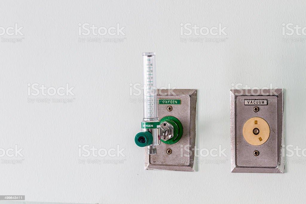 Oxygen gauge in hospital room stock photo