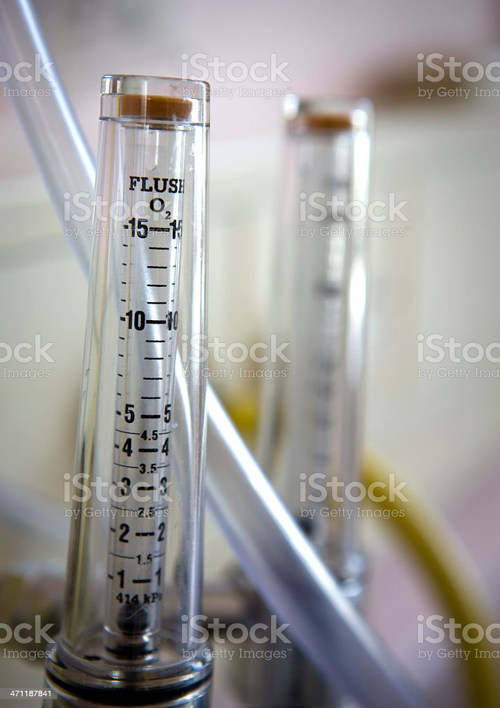 Oxygen gauge or flowmeter stock photo