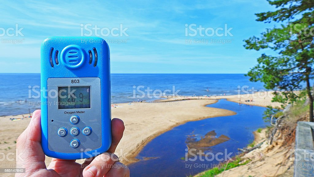 Oxygen level in air. stock photo