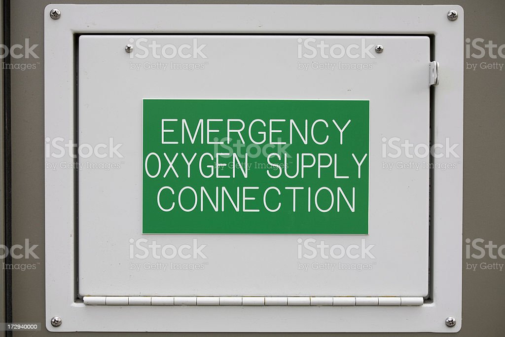 Oxygen sign and access panel royalty-free stock photo