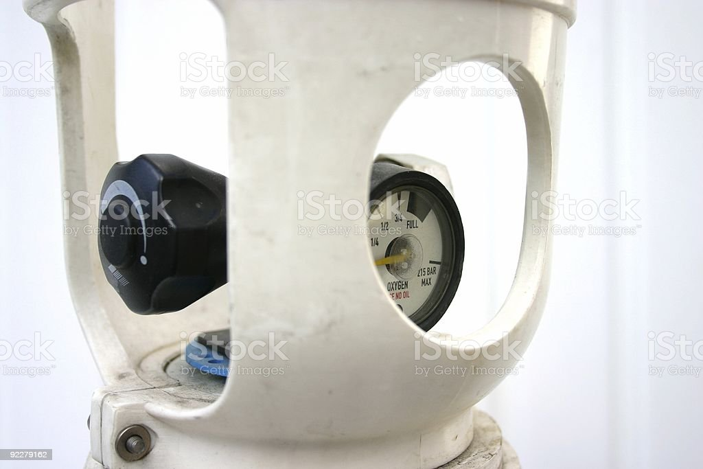 Oxygen tank air and pressure gauge royalty-free stock photo