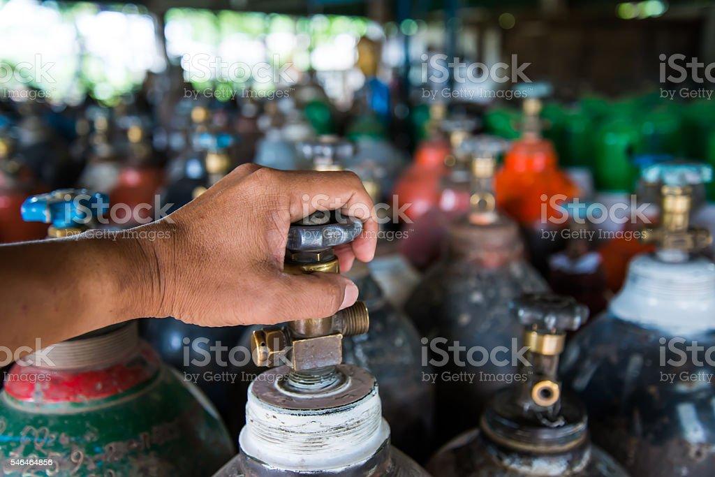 Oxygen tank stock photo