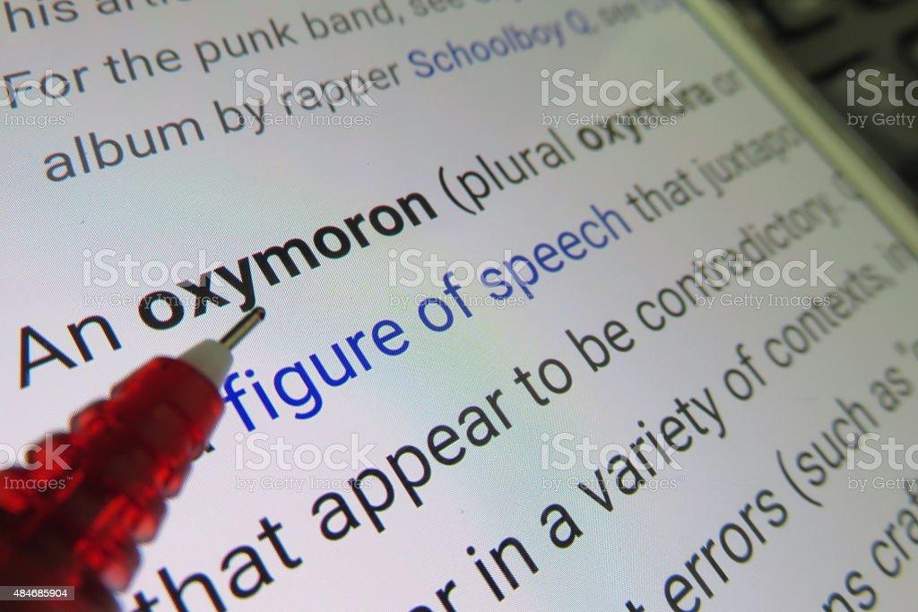 oxymoron - dictionary definition stock photo