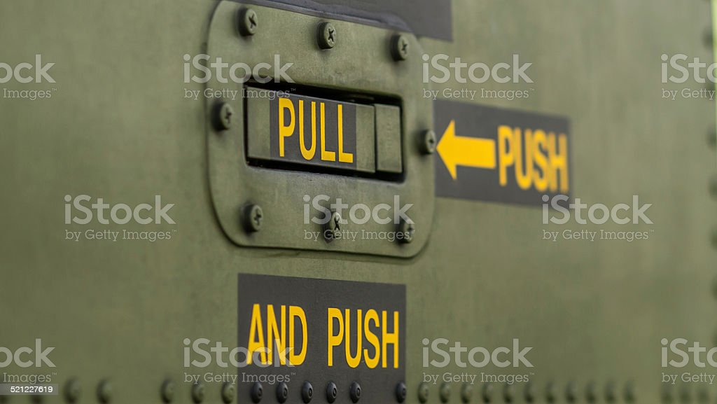 Oxymoronic instructions on the side of an aircraft stock photo