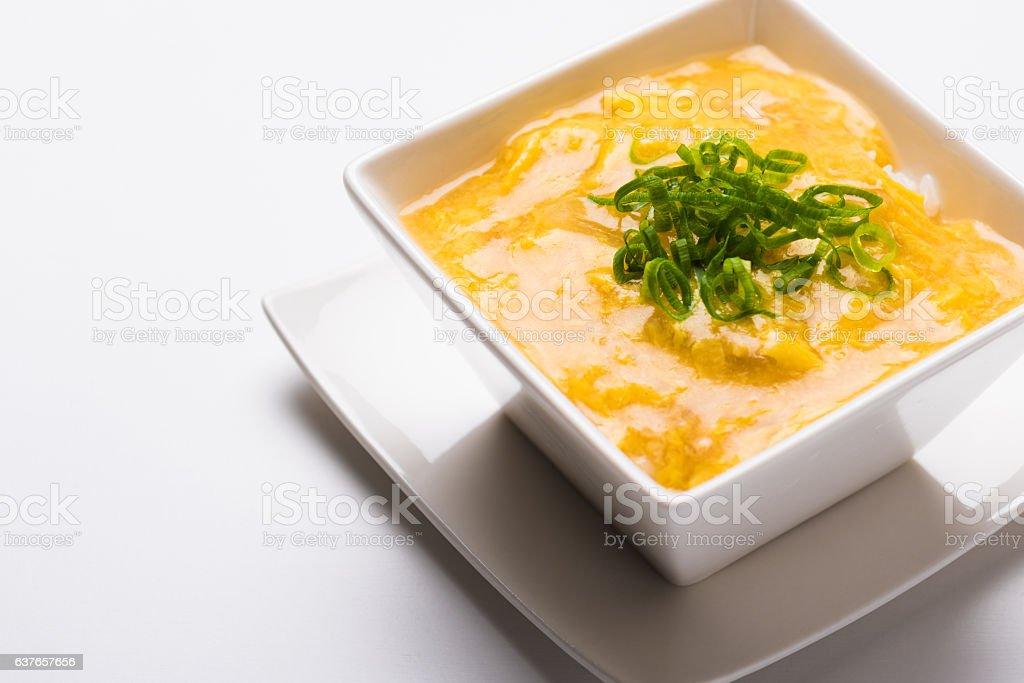 Oyakodon - Japanese Chicken and Egg Rice Bowl stock photo