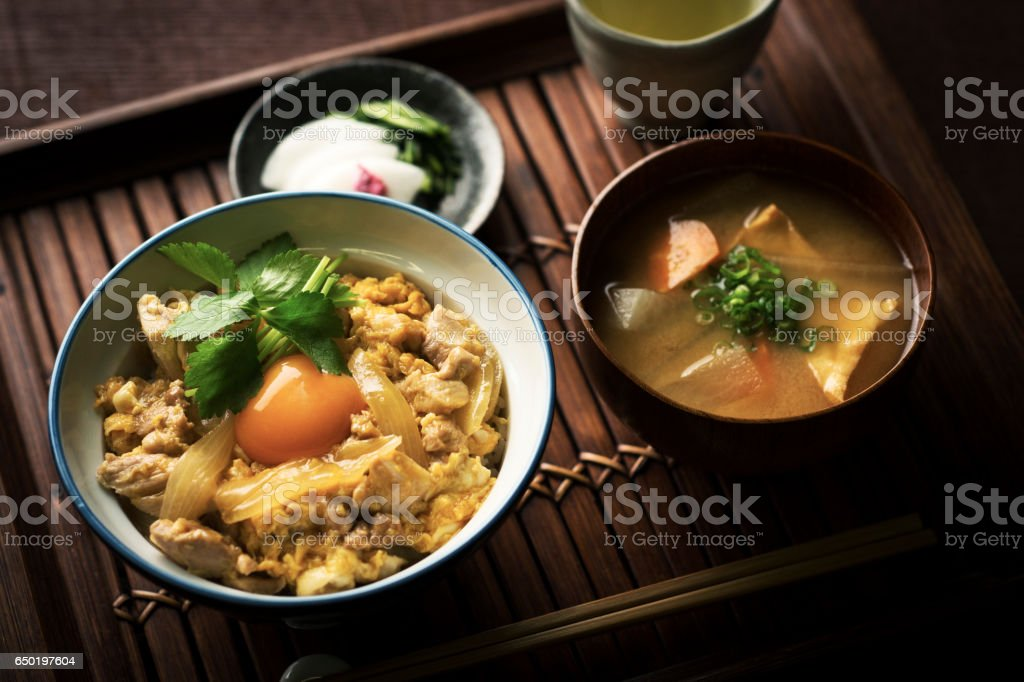 Oyakodon (Japanese Chicken and Egg Rice Bowl) stock photo