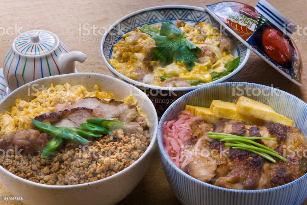 Oyako-Don-tri-color Bowl-yakitori donburi stock photo