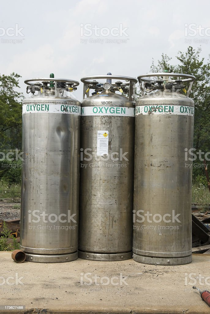 Oygen Cylinders, Storage Tanks Outside royalty-free stock photo