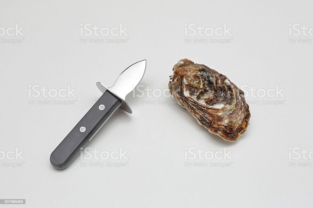 Oyster and Knife stock photo