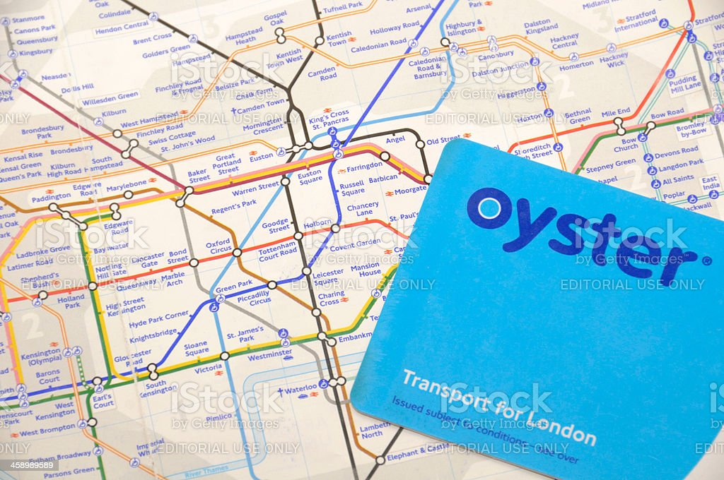 Oyster Card and Tube Map royalty-free stock photo