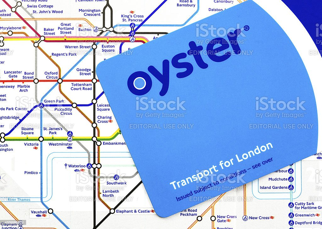 Oyster Card on London Tube Map royalty-free stock photo