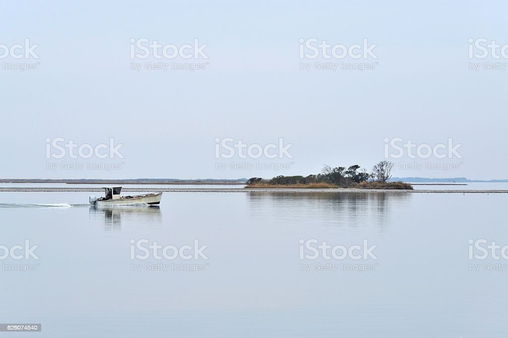 Oyster Fisherman in Sinepuxent Bay stock photo