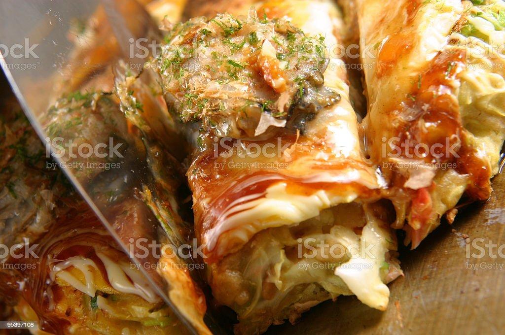 oyster okonomiyaki cut royalty-free stock photo