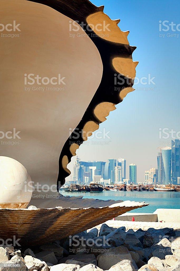 oyster pearl fountain doha, qatar stock photo