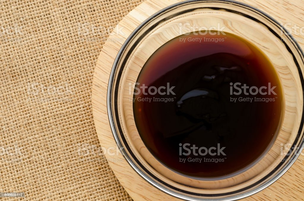 Oyster sauce in glass bowl stock photo