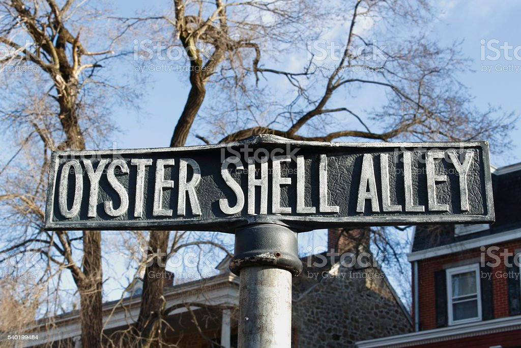 Oyster Shell Alley sign stock photo