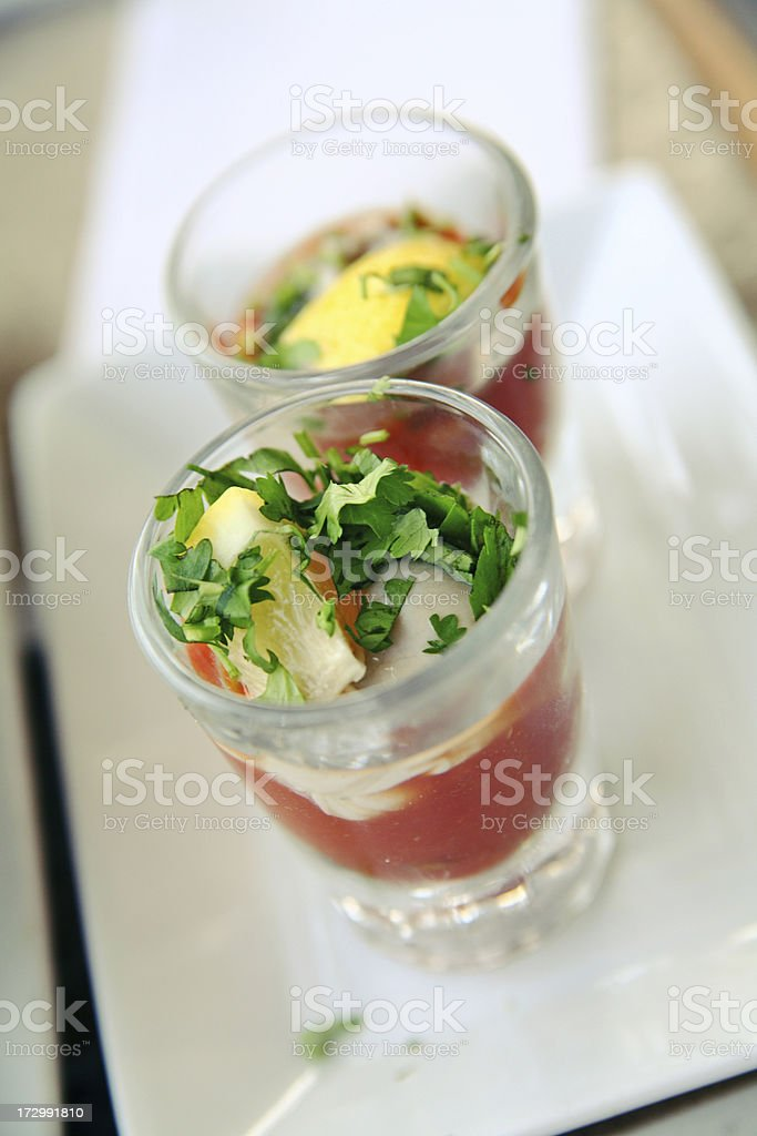 Oyster shooters at bistro bar royalty-free stock photo