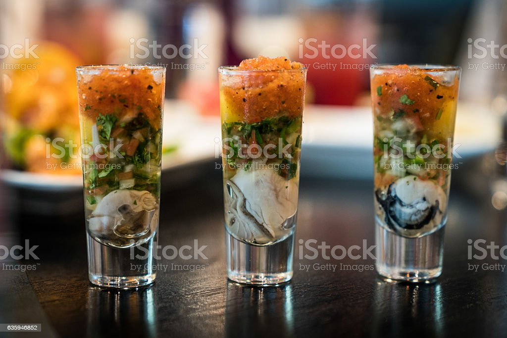 Oyster Shooters stock photo