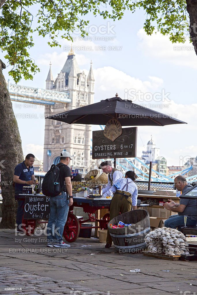 Oyster vendor in London royalty-free stock photo