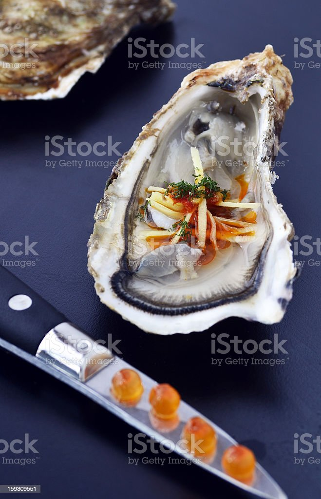 oyster with asian flavors stock photo