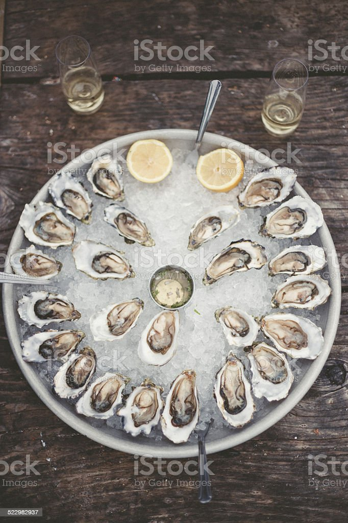 Oysters and Champagne stock photo