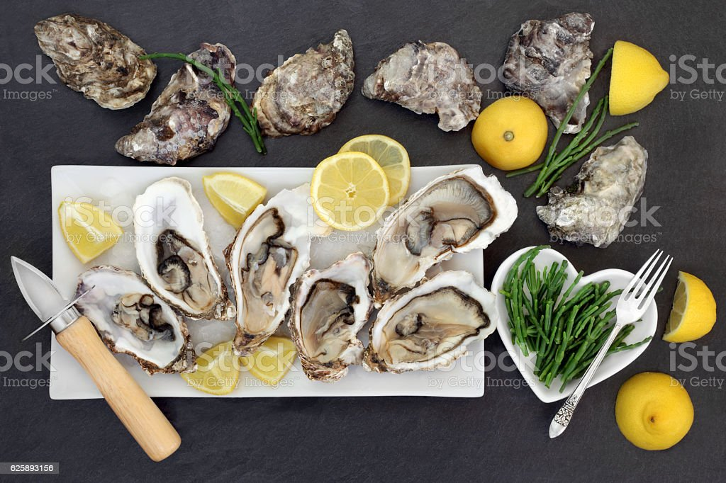 Oysters and Samphire stock photo