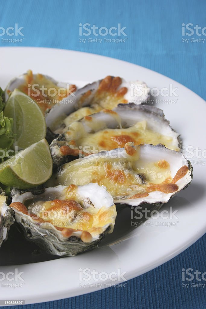 Oysters au gratin stock photo
