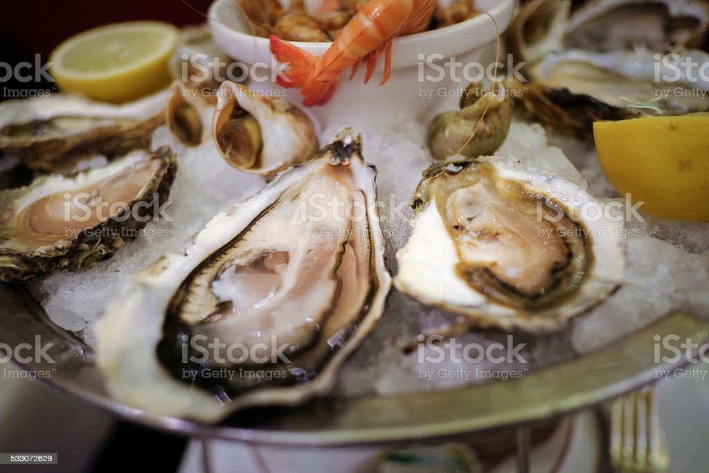 Oysters in a Bistr? in Paris stock photo