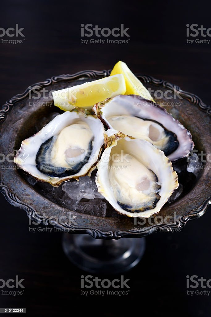 Oysters on Ice stock photo