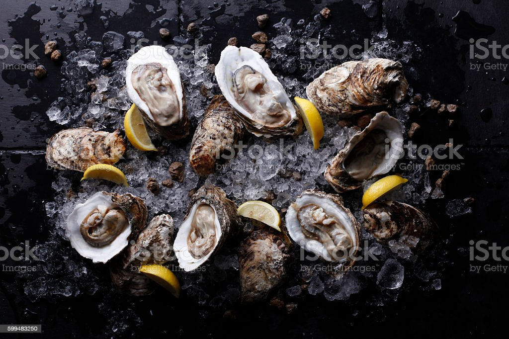Oysters on stone plate with ice and lemon stock photo