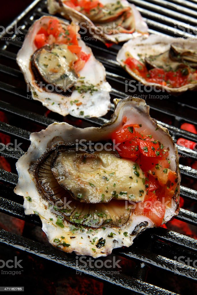 Oysters on the Barbecue stock photo